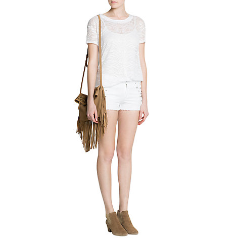 Buy Mango Studded Denim Shorts, White Online at johnlewis.com
