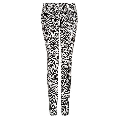 Buy Mango Animal Print Slim Fit Trousers, Black Online at johnlewis.com