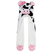 Buy John Lewis Girl Cow Hooded Scarf, Black/White Online at johnlewis.com