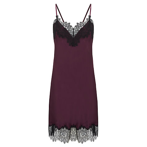 Buy Somerset by Alice Temperley Vintage Lace Chemise, Claret Online at johnlewis.com
