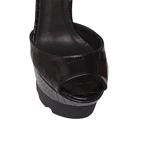 Buy Kurt Geiger Georgia Croc Print Sandals, Black Online at johnlewis.com