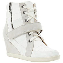 Buy Dune Ludicrous Wedged High-Top Trainers, Off-White Online at johnlewis.com