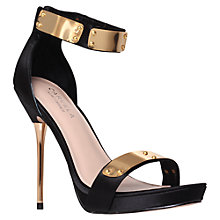 Buy Carvela Glide Heeled Occasion Leather Sandals, Black Online at johnlewis.com