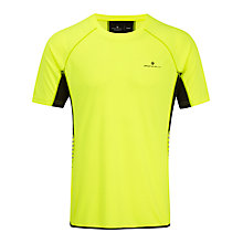 Buy Ronhill Men's Vizion Short Sleeve Running Top, Yellow/Black Online at johnlewis.com