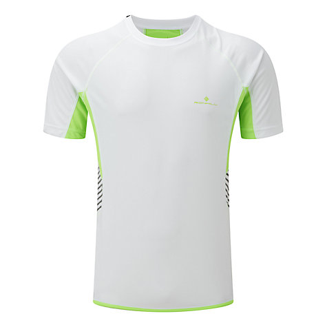 Buy Ronhill Men's Vizion Short Sleeve Running Top, White/Green Online at johnlewis.com