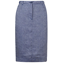 Buy Jaeger Linen Pencil Skirt, Chambray Online at johnlewis.com