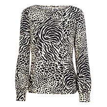 Buy Planet Zebra Jacquard Blouse, Black / White Online at johnlewis.com