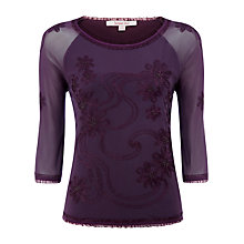 Buy Jacques Vert Embroidered Top, Purple Wine Online at johnlewis.com