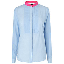 Buy Jaeger London Pleat Bib Blouse, Blue Online at johnlewis.com