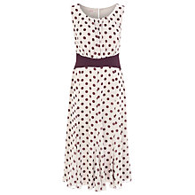 Buy Jacques Vert Polka Dot Tea Dress, Oyster/Wine Online at johnlewis.com