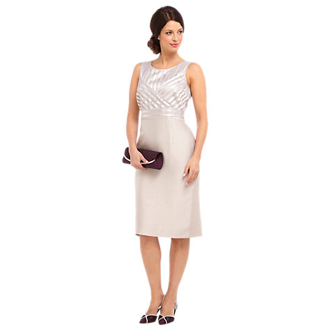 Buy Jacques Vert Mesh Satin Shift Dress, Oyster Online at johnlewis.com