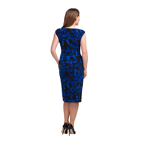 Buy Precis Petite Ikat Floral Print Dress, Blue / Black Online at johnlewis.com