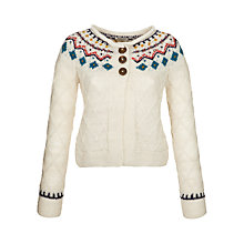 Buy People Tree Alice Fair Isle Cardigan, Cream Online at johnlewis.com