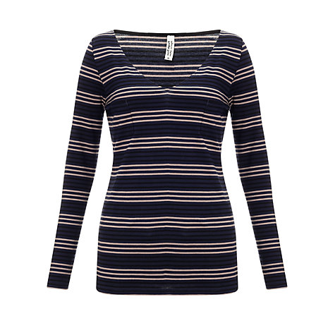 Buy People Tree Maddie Stripe Top, Navy Online at johnlewis.com