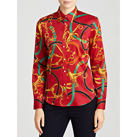 Buy Lauren by Ralph Lauren Button Front Shirt, Red Multi Online at johnlewis.com