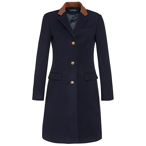 Buy Lauren by Ralph Lauren Leather-Trimmed Wool Jacket, Regal Navy Online at johnlewis.com