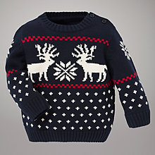 Buy Gant Reindeer Crew Neck Jumper, Blue/White Online at johnlewis.com