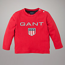 Buy Gant Long Sleeved Shield Top, Red Online at johnlewis.com