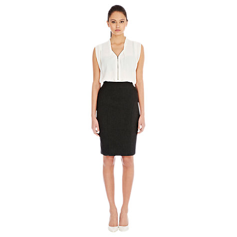 Buy Warehouse Herringbone Skirt, Dark Grey Online at johnlewis.com