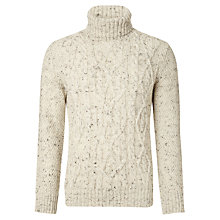 Buy John Lewis Sheep Breed Cable Roll Neck Jumper, Natural Online at johnlewis.com