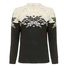 Buy JOHN LEWIS & Co. Sheep Breed Jacquard Yoke Crew Neck Jumper, Natural/Green Online at johnlewis.com