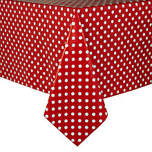 Buy John Lewis Polka Dot PVC Tablecloth, Red/ White Online at johnlewis.com