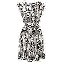 Buy Warehouse Feather Print Dress, Black Online at johnlewis.com