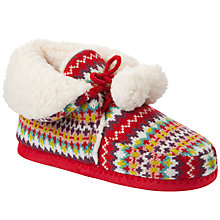 Buy John Lewis Girl Fair Isle Knitted Slippers, Red/Multi Online at johnlewis.com