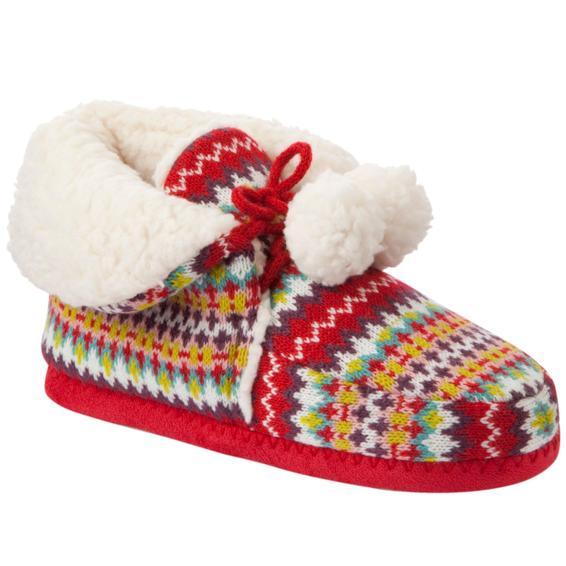 John Lewis Girl Fair Isle Knitted Slippers, Red/Multi