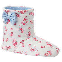 Buy John Lewis Girl Floral Slipper Boots, Cream/Pink Online at johnlewis.com
