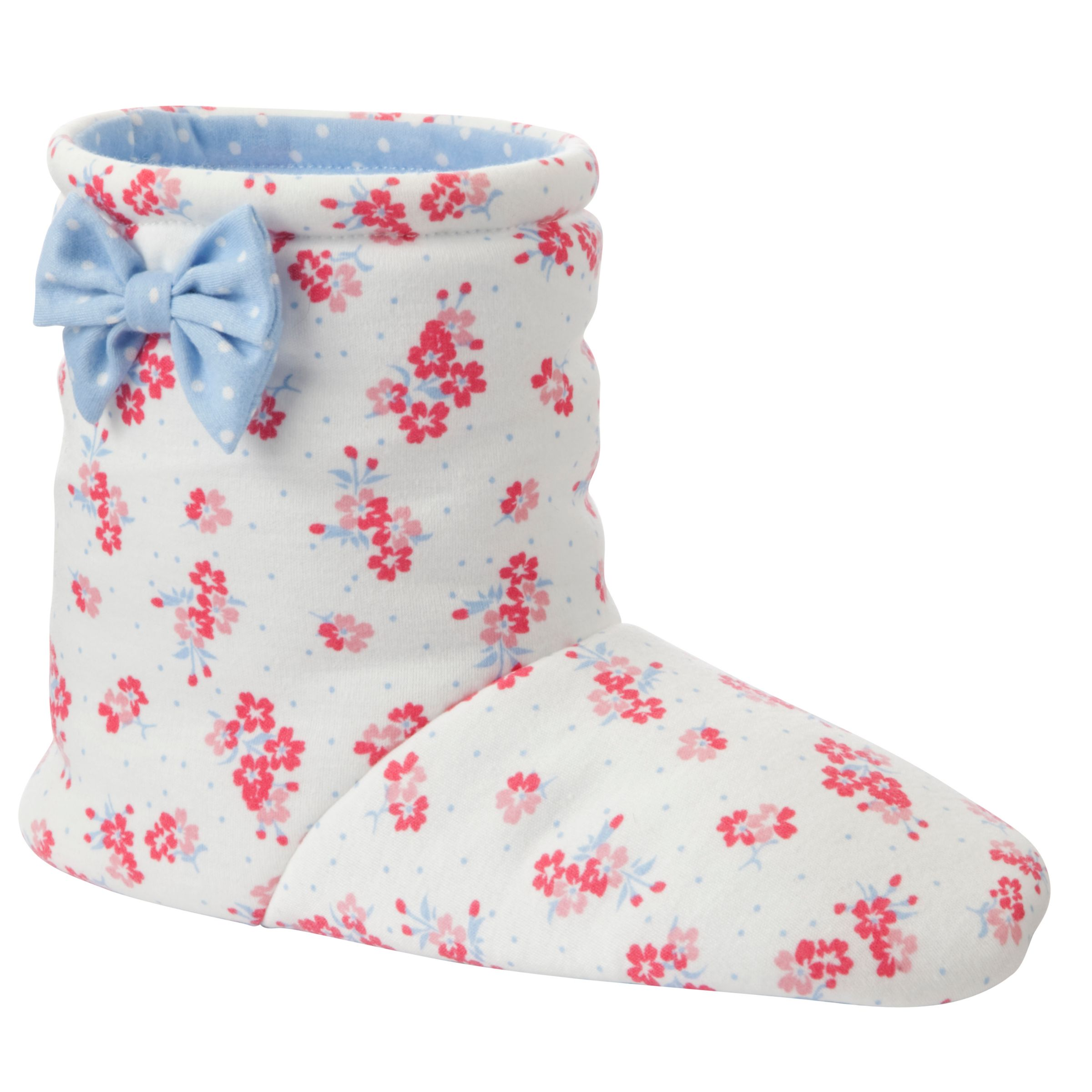 John Lewis Girl Floral Slipper Boots, Cream/Pink