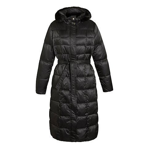 Buy Geox Faux Fur Hood Long Coat, Black Online at johnlewis.com