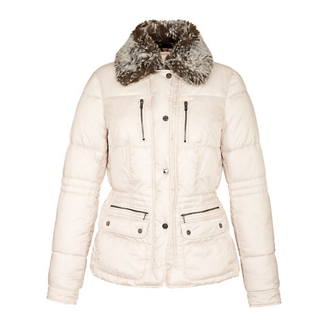 Buy Geox Faux Fur Collar Short Jacket, Midnight Sand Online at johnlewis.com