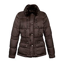 Buy Geox Faux Fur Collar Jacket, Brown Online at johnlewis.com