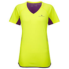 Buy Ronhill Women's Vizion Short Sleeve Running Top, Yellow/Purple Online at johnlewis.com