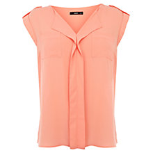 Buy Oasis Military Draped Top, Coral Online at johnlewis.com