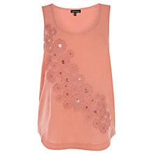 Buy Warehouse Embroidered Vest Top, Coral Online at johnlewis.com