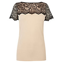 Buy Oasis Lace Panel Top, Natural Online at johnlewis.com