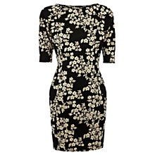 Buy Warehouse Oriental Jacquard Dress, Navy Online at johnlewis.com