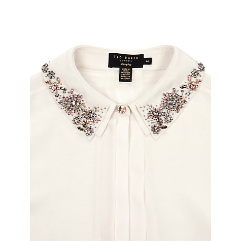 Buy Ted Baker Seda Embellished Collar Shirt, Ivory Online at johnlewis.com