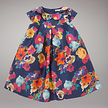 Buy John Lewis Sateen Flower Print Dress, Blue Online at johnlewis.com