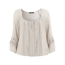 Buy Mint Velvet Crinkle and Lace Blouse, Lilac Online at johnlewis.com