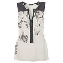 Buy Mint Velvet Gracie Print Peplum Blouse, Ivory/Grey Online at johnlewis.com