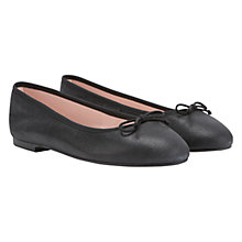 Buy Mint Velvet Leather Ballet Pumps, Charcoal Online at johnlewis.com