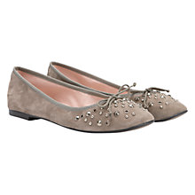 Buy Mint Velvet Studded Suede Ballerina Pumps, Taupe Online at johnlewis.com