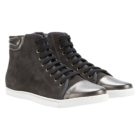 Buy Mint Velvet Suede High-Top Trainers, Grey Online at johnlewis.com