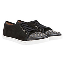 Buy Mint Velvet Suede Studded Plimsolls, Black Online at johnlewis.com