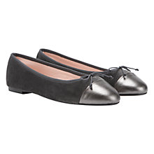 Buy Mint Velvet Contrast Toe Leather Ballet Pumps, Grey Online at johnlewis.com