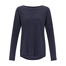 Buy Kin by John Lewis Curved Hem Jersey Top, Navy Online at johnlewis.com