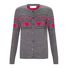 Buy Collection WEEKEND by John Lewis Heart Cardigan, Grey/Hot Pink Online at johnlewis.com